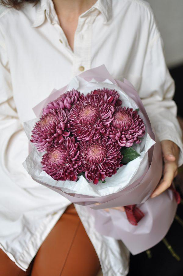 Монобукет из хризантем «Бигуди»